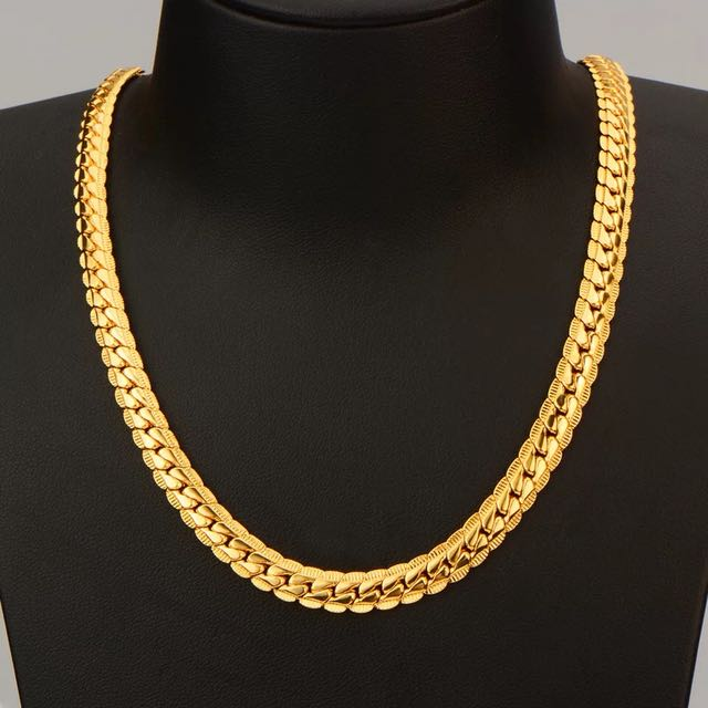 18k gold plated 55cm*6mm necklace