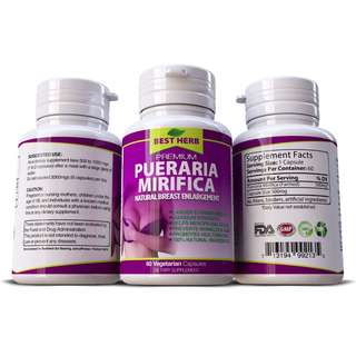 1-2 MONTHS SUPPLY - ADD 1 -3 CUPS SIZE - PUERARIA MIRIFICA 3000 ◆ BUST FIRMING BREAST ENLARGEMENT CAPSULES * 60s (1 bottle)
