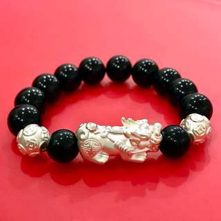 Onyx men bracelet with silver bixiu