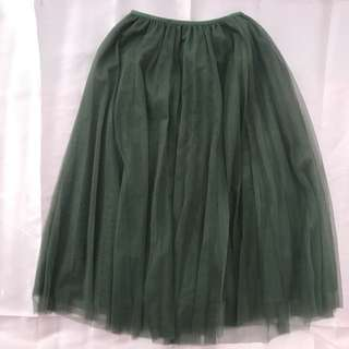 A line Tulle Skirt in Army Green