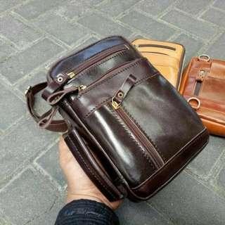 Waistbag tas kulit asli sapi slempang tas tangan dada tas pinggang