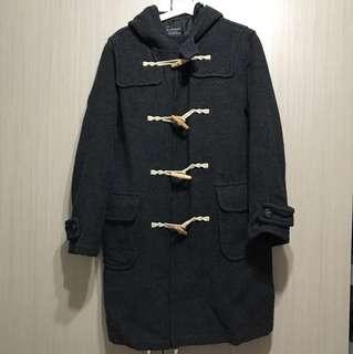 古著/Estacot深灰深花灰70%毛料連帽長版牛角扣大衣外套