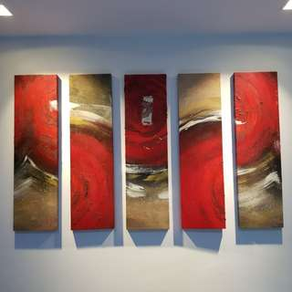 5-Piece Modern Abstract Hand Painted Canvas (Framed)