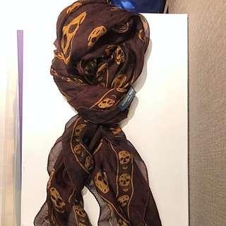 Alexander Mcqueen 100% Silk Skull Scarve Maroon and Gold
