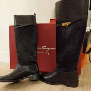 Ferragamo horse hair +leather boots