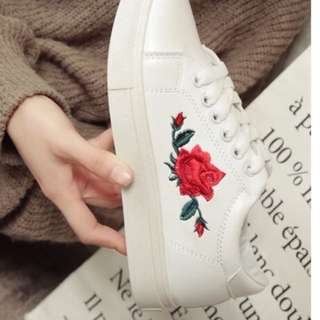READY STOCK Women Rose Embroidery Sneakers 36-40