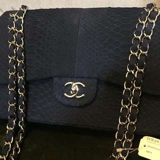 CHANEL python double flap jumbo navy