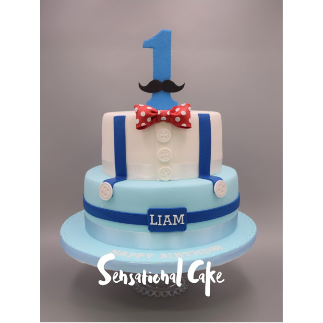 1st Birthday Mustache With Polka Dots Bow And Suspender Baby Boy