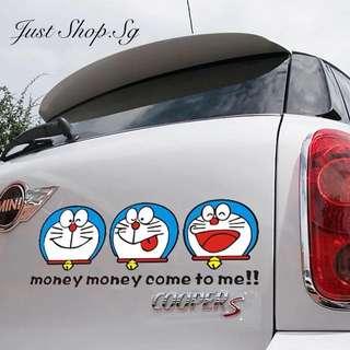 Money Come Doraemon Car Decal / Sticker