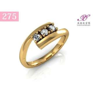 YAXIYA  cincin dewasa lapis emas permata perhiasan imitasi 18k