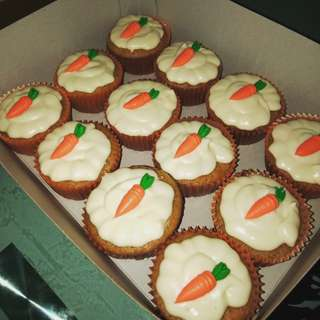 Classic carrot cupcake with cream cheese frosting