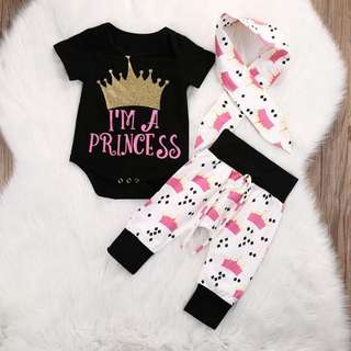 Baby GIRL Princess Crown Print 3in1 Romper+pants+headband