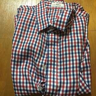 🚚 紅藍格子襯衫 短袖S
