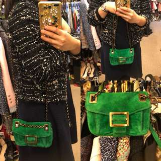 Roger Vivier RV suede leather small bag