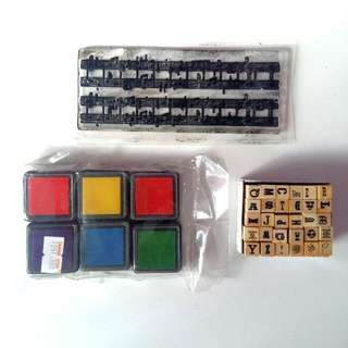 All For $3! Mini Alphabet And Musical Score Stamp With Ink Pads