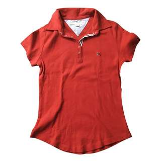 Tommy Hilfiger Red Collared Stretch Top
