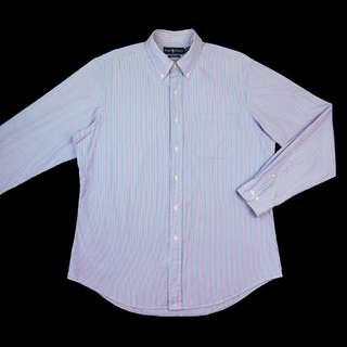 🚚 美國品牌Ralph Lauren POLO紫色條紋長袖襯衫 美版 大尺碼