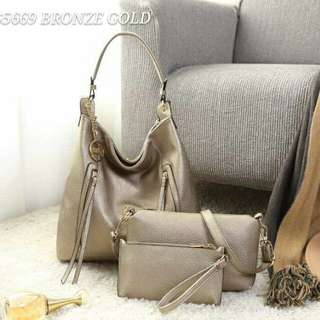 GUESS Hobo Bag 3 in 1 Bronze Gold Color