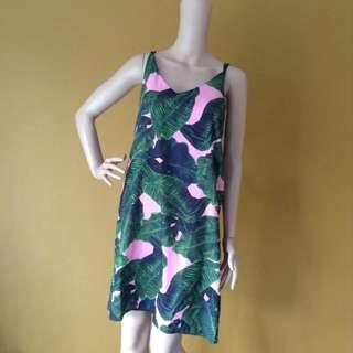 Summer Leafy Floral Sleeveless Dress