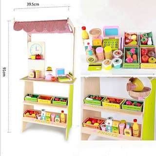 (Incl Delivery) Wooden Supermarket Fruits and Vegetables Mini Display Stand Cart