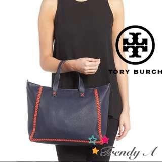 Trendy A 美國 正版包郵Tory Burch Women's Blue Whipstitch Medium Tote 牛皮手袋