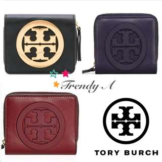 Trendy A 美國 正版包郵 Tory Burch Charlie Mini Bi-Fold Wallet 女士拉鏈銀包