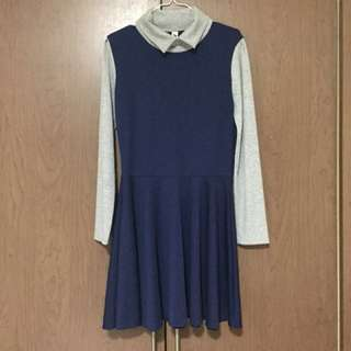 Korean Navy Blue Dress