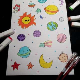 Cute space sticker sheet