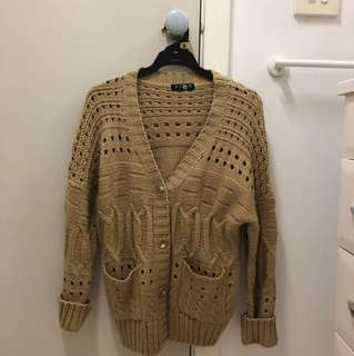 Beige Wool Cardigan