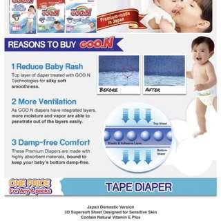 Goon Diapers NewBorn (90pcs)