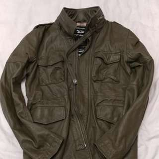Tough jeans leather jacket green