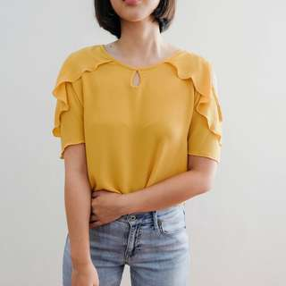 B16 YELLOW RUFFLE COLD SHOULDER