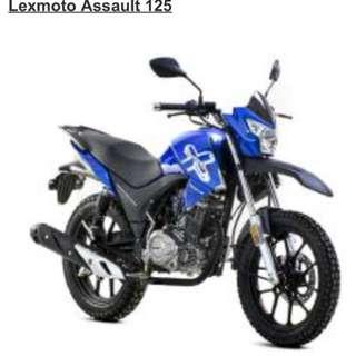 Lexmoto Assault 125. Last blue unit. $0 downpayment. $312 x 48 mths