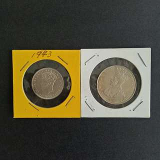 Malaya coins 20-50cents good condition 2pcs $25