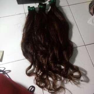 Hair extension asli rambut manusia.100 helai + free pemasangan ke rambut