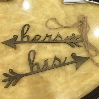 His Hers Wooden Sign