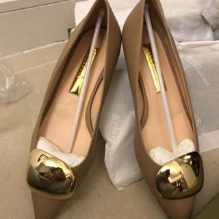 Size 37.5 RS Coffee/Cappuccino Nappa Gold Flat Shoes