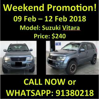 9-12 Feb Suzuki Vitara Weekend SALE