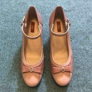 👠全新A.S.O 粉橘真皮牛皮高跟鞋 6.5號