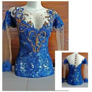 Kebaya Modern Blue Gold Kombinasi Payet