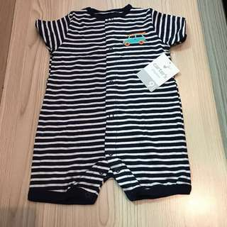 #Huat50Sale Carter's Baby Boy Romper with Navy/Blue Stripes and Car Appliqués (front and back) 9 months