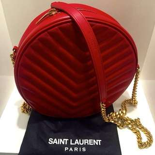 Authentic Saint Laurent Bubble Bag in Red Leather