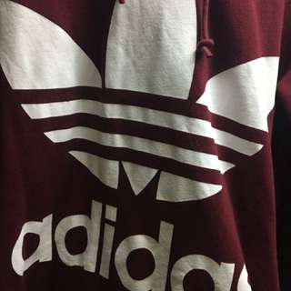 Adidas 酒紅色 有帽hoodie