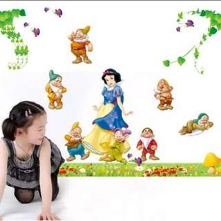 Cartoon Snow White Seven Dwarfs Sticker Kindergarten Children's Room Classroom Decoration Wall Sticker/Home decor