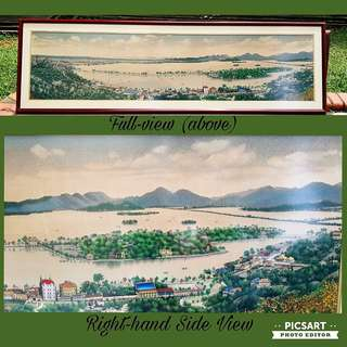 "1950-60s Shanghai Tang City Area (黃浦江) silk tapestry in wooden frame. Interesting as it shows what the place used to be then. Horizontally Long, 70"" by 20"". Great Wall Display above sitting area for Tea Room or Restaurant. $128, Sms 96337309."