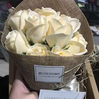乾花 乾花花束 9朵 奶白色 香皂花