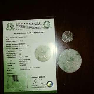 天然A貨翡翠 有珠寶業界 認可的鑑定證書  證書編號SC115754
