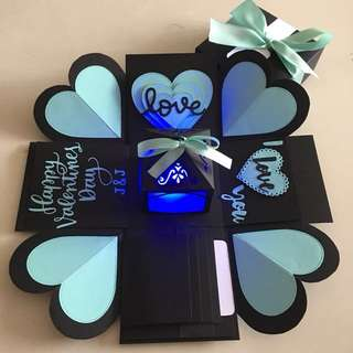 Valentine day Explosion box with lighthouse. 4 waterfall in black & Tiffany