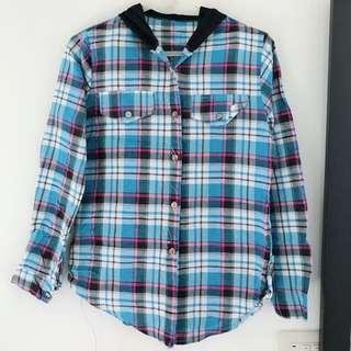🚚 連帽格紋襯衫(粉藍)#大掃除五折