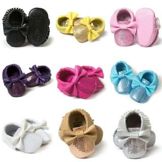 Newborn Baby Moccasins Comfy Soled Leather Sequin Shoes